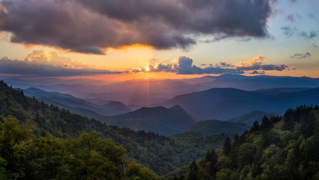 Sunset View from the Blue Ridge Parkway - great family reunion locations in north carolina