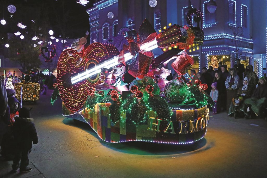 The glittering parade is a highlight of Christmas festivities at Dollywood theme park in the Tennessee Smokies.