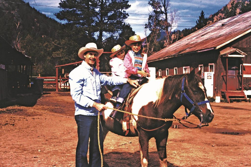 A trip to Colorado and the Front Range is always enhanced by a horseback ride. Amy (front), Alison and Dad get ready for this fun adventure in the early 1980s.