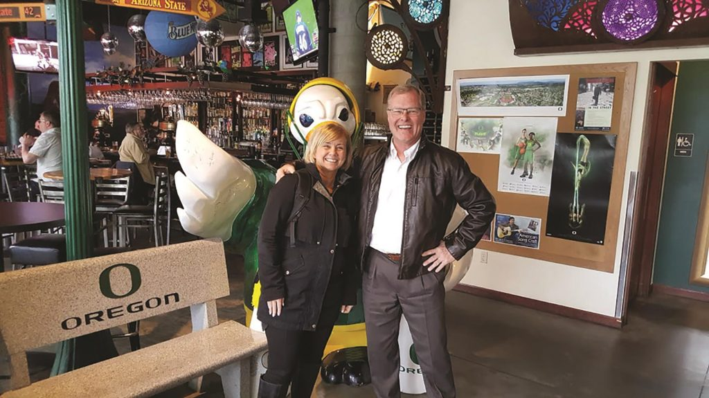 Dux restaurant in Eugene sports memorabilia from the University of Oregon