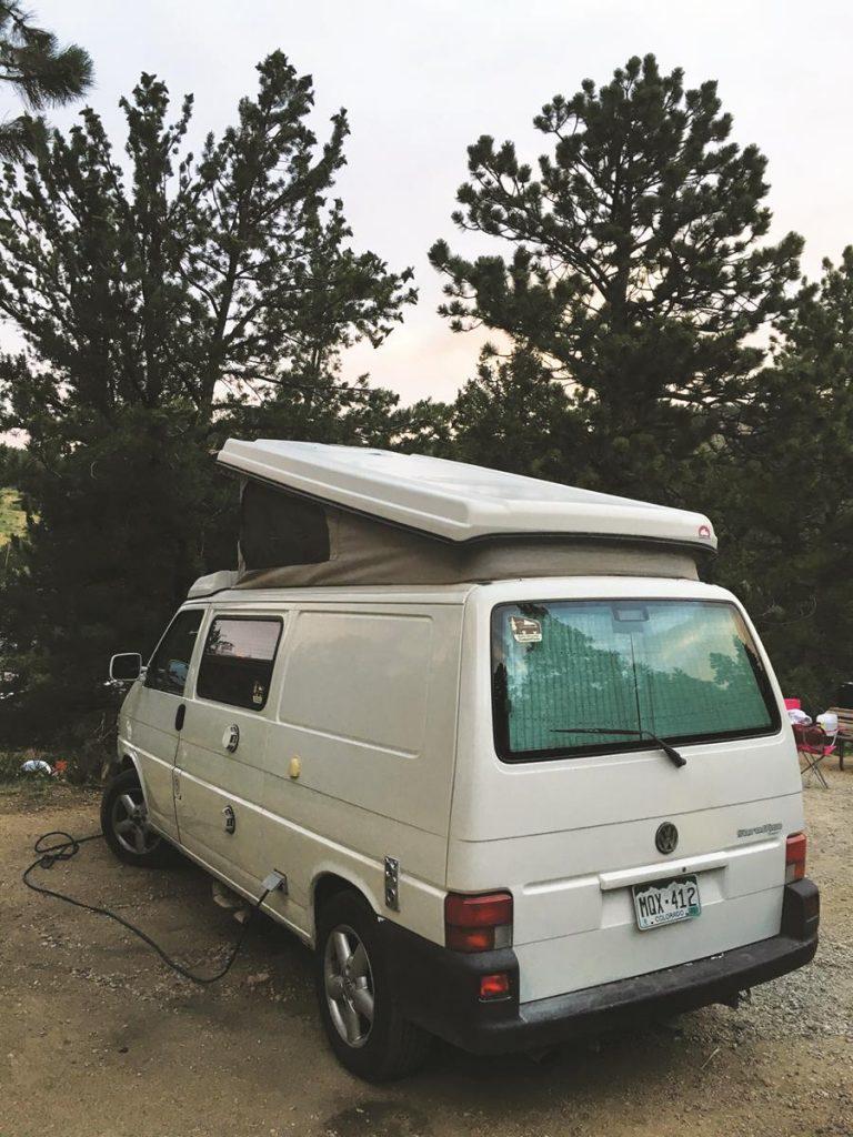 Vintage Volkswagen camper van provided retro transportation and kitschy accommodations.
