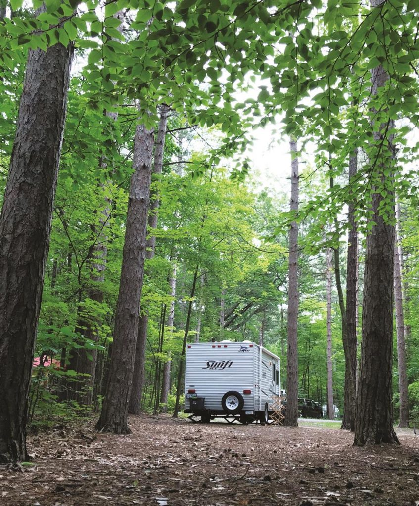 Get away from it all with a stay at a rustic campground like NY's Watkins Glen State Park.